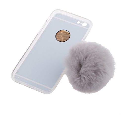 Telefon Hülle Schutzhülle Hart Case Back Cover mit Künstliche Plüsch Ball Hairball Anhänger für iPhone 6 6S - Grau