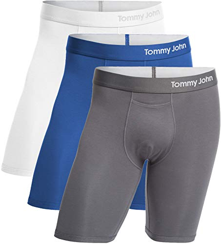 Tommy John Men's Cool Cotton Boxer Briefs - 3 Pack - No Ride-Up Comfortable Breathable Underwear for Men (White/TJ Blue/Iron Grey, X-Large) ()