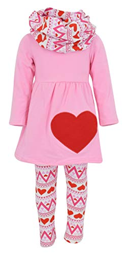 Unique Baby Girls 3 Piece Matching Heart Print Legging Set (4t, Pink)