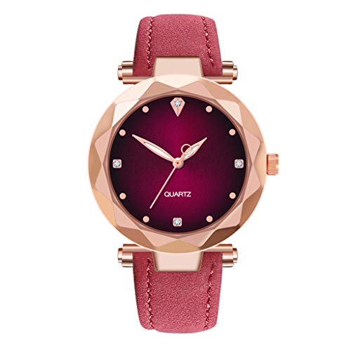 (WoCoo Ladies Watches Leather Diamond pointer Dial Analog Clock Classic Quartz Female Charm Bracelet Dress Wristwatches(Hot Pink))