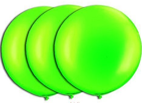 36 Inch Giant Round Lime Green Latex Balloons by TUFTEX (Premium Helium Quality) Pkg/3