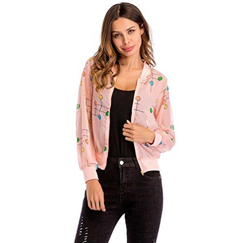 Pink Classico Manica A Donna Con bomber Cappotto Autunno In Lunga Cardigan Cerniera Garza Da vpwOq8p