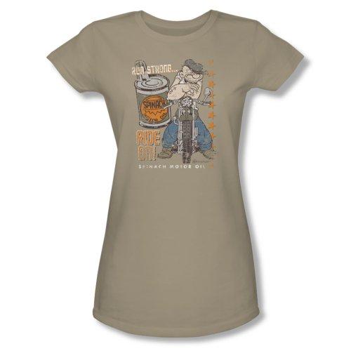 Popeye Ride On Short Sleeve Tee Juniors - Safari Green T-Shirt-Small