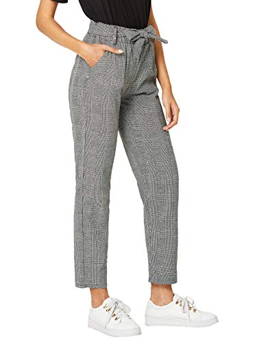 SOLY HUX Women's Casual Plaid Pants Soft Elastic Waist Self Tie Trousers with Pockets Gray #1 M