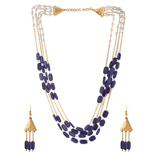 Efulgenz Indian Multi Layered Bollywood Blue Faux Sapphire Pearl Beads Wedding Bridal Necklace Earrings Jewelry Set
