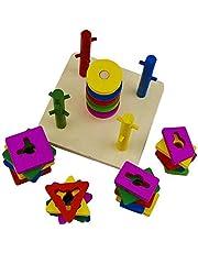 Columns of geometric shapes | Development skills and intelligence wooden Montessori toys