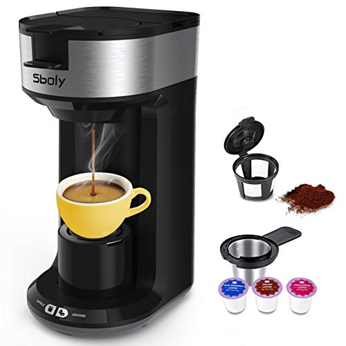 Updated Ground Coffee and Pod Coffee Maker Single Cup with Fast Brew Technology, Small Coffee Maker for K Cup, Single…