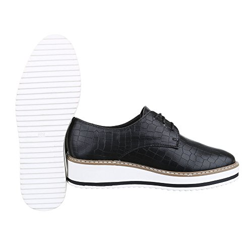 Ital negro Zapatos Cordones Planos con Design Mujer q7RrY7OZn