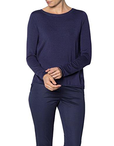 KOOKAI Damen Pullover Mikrofaser Sweater Unifarben, Größe: T3, Farbe: Blau