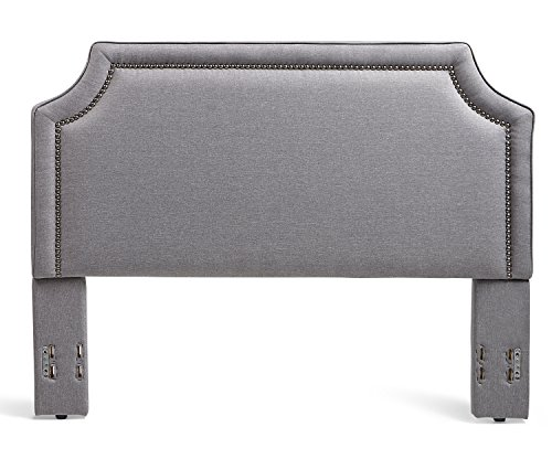 Birch Metal Bed - Mantua BRA66HBMG Brossard Upholstered Headboard, King/California King, Grey