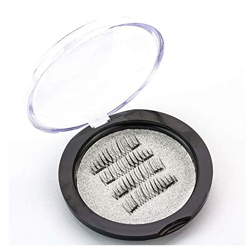 Magnetic Eyelashes Natural Look| Fake Dual Magnet Lashes [Glue Free] Ultra-Thin Easy to Wear Reusable Extensions - False Eyelashes Full Size set for Natural Look (1 Pair/4 Pcs)
