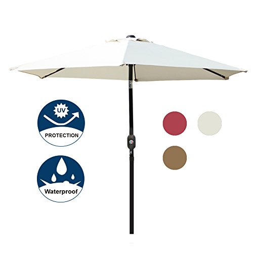 Blissun 7.5 ft Patio Umbrella, Yard Umbrella Push Button Tilt Crank (Beige)
