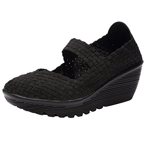 EnllerviiD SDF889-1heise35 Women Wedge Mary Jane Sandals Closed Toe Weave Platform Heel Sandals Shoes