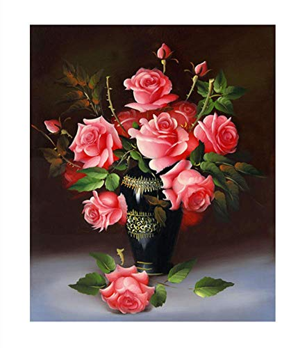 (YEESAM ART New 5D Diamond Painting Kit - Pink Rose Flowers - DIY Crystals Diamond Rhinestone Painting Pasted Paint by Number Kits Cross Stitch Embroidery (Pink))