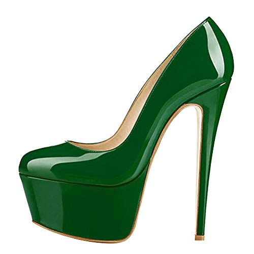 (Onlymaker Women's Fashion Sky High Heel Slip On Stiletto Pumps Invisible Platform Closed Toe Wedding Party Shoes Artificial Patent Leather Green Size 11)