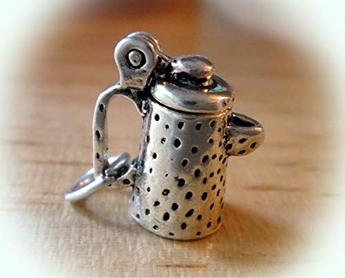 1 Sterling Silver 3D 14x13x7mm Movable Graniteware Coffee Pot Charm Vintage Crafting Pendant Jewelry Making Supplies - DIY for Necklace Bracelet Accessories by CharmingSS ()