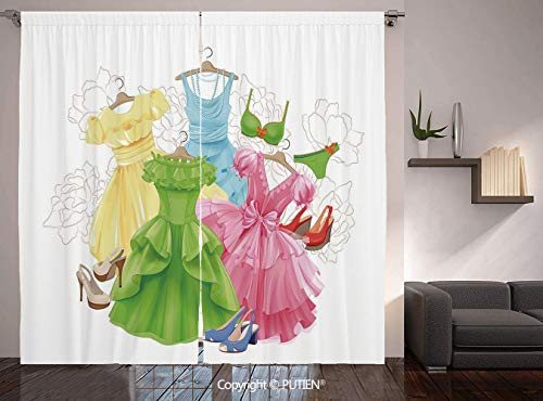 Thermal Insulated Blackout Window Curtain [ Heels and Dresses,Princess Outfits Bikini Shoes Wardrobe Party Costumes Girls Room Decor,Multicolor ] for Living Room Bedroom Dorm Room Classroom Kitchen Ca