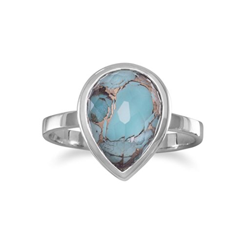 Rhodium Plated Sterling Silver Ring, 9x12mm Faceted Quartz/Turquoise/Copper, Sizes 5-9