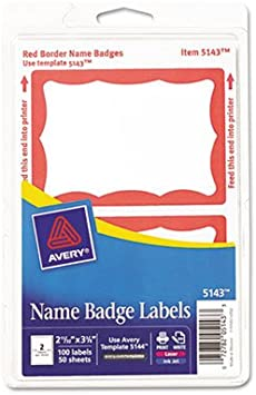 100 Blue,100 Red Border Style Self Stick Name Badges 3 1//2 x 2 1//4 200//Pack Specifically for Handwriting