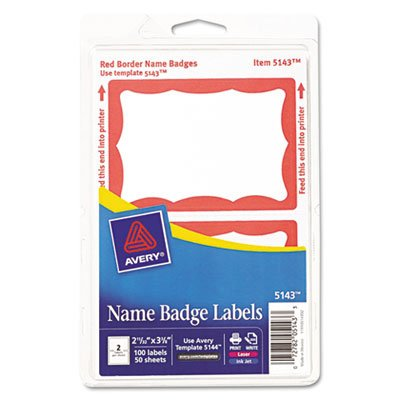 Red Name Badge Labels - Printable Self-Adhesive Name Badges, 2-11/32 x 3-3/8, Red Border, 100/Pack, Sold as 1 Package, 6PACK , Total 6 Package