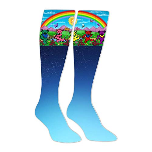 (Dead-grateful Unisex Adult High Knee Stockings Soft Mens Womens Long Socks Christmas Halloween)