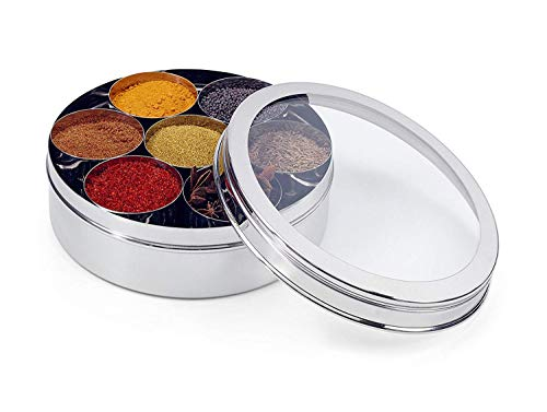 WhopperIndia Stainless Steel Spice box 7 compartments With Clear Screen & Clear Lid With Spoon Airtight ()