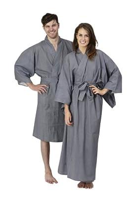 Beautiful Robes Women's Thin Stripe Cotton Kimono Long