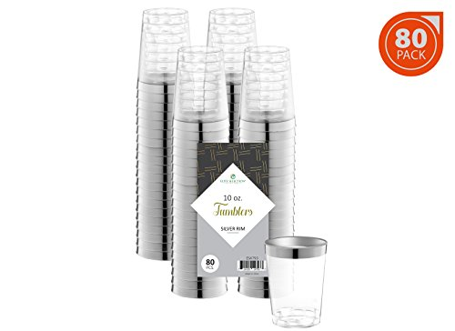Elite Selection 80 Count 10 Oz. Disposable Hard Party / Wedding Plastic Cups / Tumblers With Silver Rim