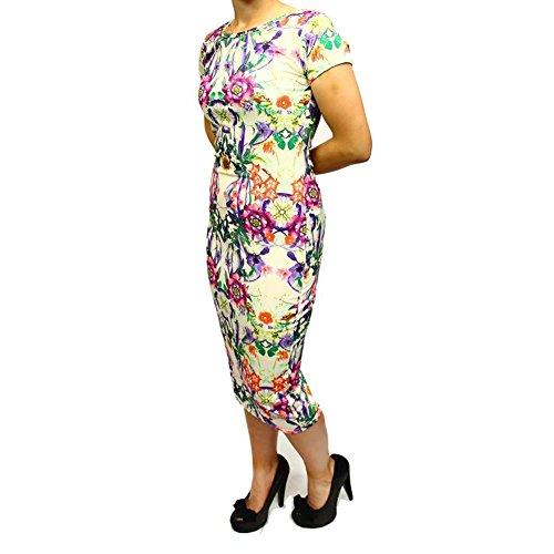 Cream / purple / green short sleeve flower body con dress