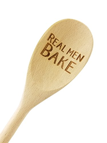 Engraved 14in Real Men Bake Wood Spoon Gift (1 Spoon)