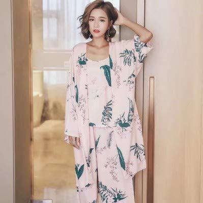 NVYISHUI ??Giapponese Pigiama Donna Primavera e Autunno Kimono giapponese Abiti sexy in tre pezzi Pink lily three-piece
