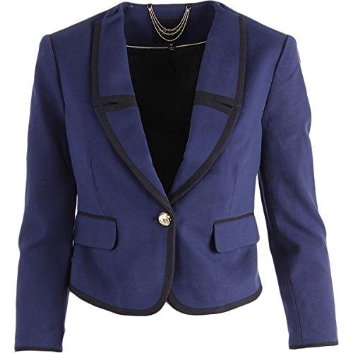 Couture Blazer (Juicy Couture Black Label Womens Ponte Button Front Jacket Navy)