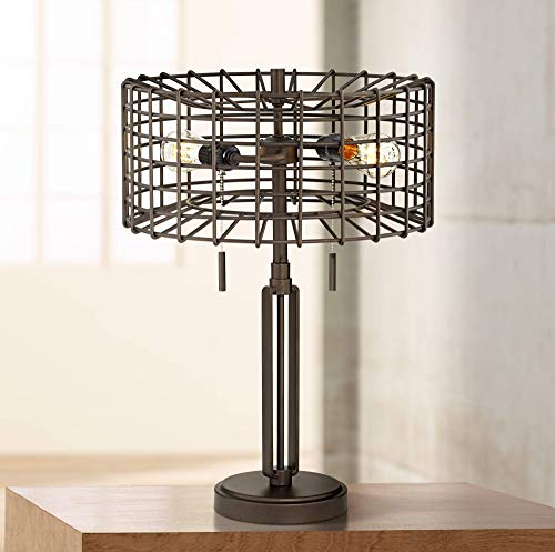 Adam Industrial Accent Table Lamp LED Edison Bulb Deep Bronze Metal Cage Shade for Living Room Family Bedroom - Franklin Iron ()