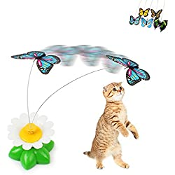 Geekercity Funny Cat Toys Electric Rotating Butterfly Steel Wire Cat Teaser Toy ( Battery is not included ) [Color Random]