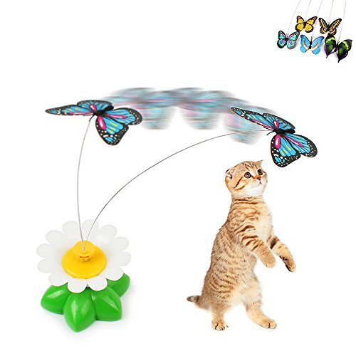 Geekercity Funny Cat Toys Electric Rotating Butterfly Steel Wire Cat Teaser Toy ( Battery is not included ) [Color (Cat And Laser Pointer Costume)