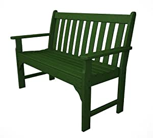 "Recycled Plastic Vineyard 48"" Bench by Polywood Frame Color: Hunter Green"