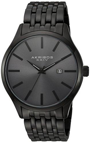 Akribos XXIV Men's Gun Metal with Black Accented Dial and Gun Metal Case on Gun Metal Bracelet Watch AK941GN