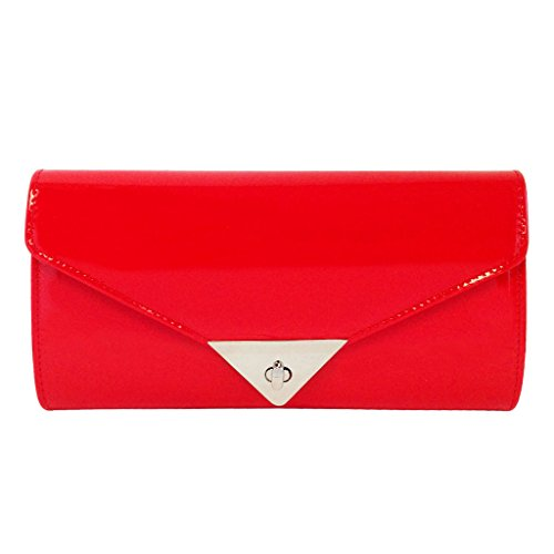 (JNB Women's Patent Leather Candy Clutch, Red )