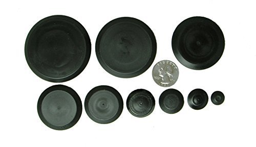 50 Piece Flush Mount Black Hole Plug Assortment for Auto Body and Sheet - Plug Kit Rubber