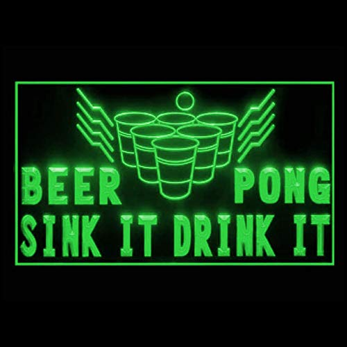 170207 Beer Pong Fun Game Cup Party College Bounce Display LED Light Sign (Party College Beer)