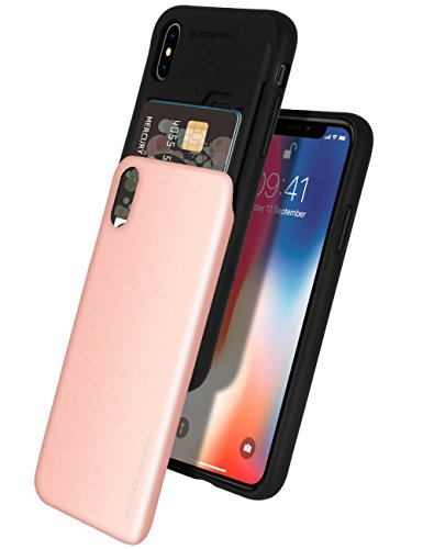iPhone Xs Case, iPhone X Case [Sliding Card Holder] GOOSPERY Protective Dual Layer Bumper [TPU+PC] Cover with Card Slot Wallet for Apple iPhone Xs/X (Rose Gold) IPX-Sky-RGLD