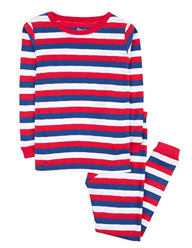 Leveret Striped Kids & Toddler Boys Pajamas 2 Piece Pjs Set 100% Cotton (Size 5 Toddler, Red/White/Blue)