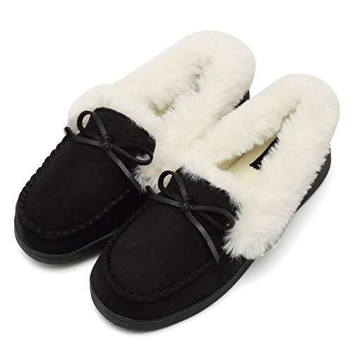 Fur Lined Moccasins - FANTURE Women's House Slippers Moccasins Slip On Micro Suede Faux Fur Lined Indoor & Outdoor-U418WMT009-black-40
