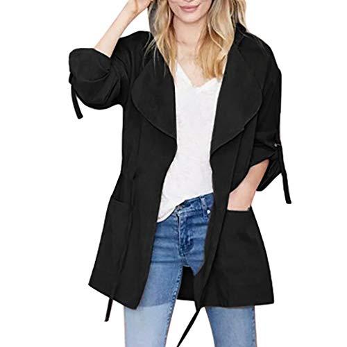 LuluZanm Women's Windbreaker Coat, Sale Ladies Fashion Long Sleeve Pocket Drawstring Jacket Hooded Outerwear Black (Woodlands Mall)