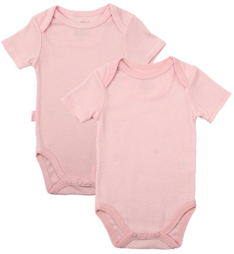 Kushies Everyday Layette 2 Pack Short Sleeve Bodysuits, 12 Months, Pink Solid/Stripe