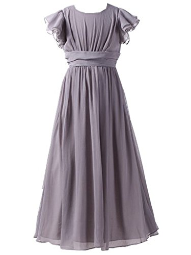 Happy Rose Flower Girl's Dress Prom Party Bridesmaid Dress Long Grey 18