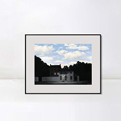 (INVIN ART Framed Canvas Art The Empire of Lights, 1955 by Rene Magritte Abstract Wall Art Living Room Home Office Decorations(Aluminum Metal Black Frame with Mat & Glass,24