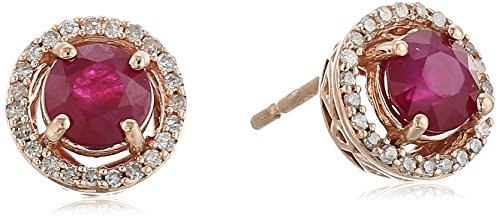 10k Rose Gold Burmese Ruby Round with Diamond Halo Stud Earrings (1/10 cttw) ()
