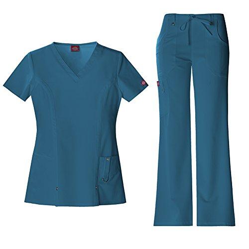 Dickies Xtreme Stretch Women's V-Neck Top 82851 & Drawstring Pant 82011 Scrub Set (Caribbean - X-Small) ()
