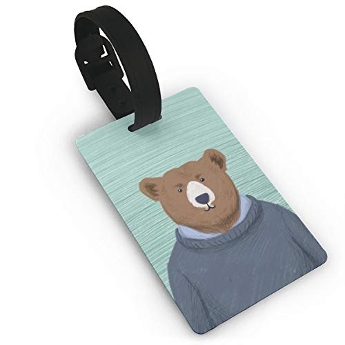 GKEEHR Luggage Tag Cool Bear PU Luggage Tags with Cover Air PlaneTravel Tags Suitcase Card Portable ()